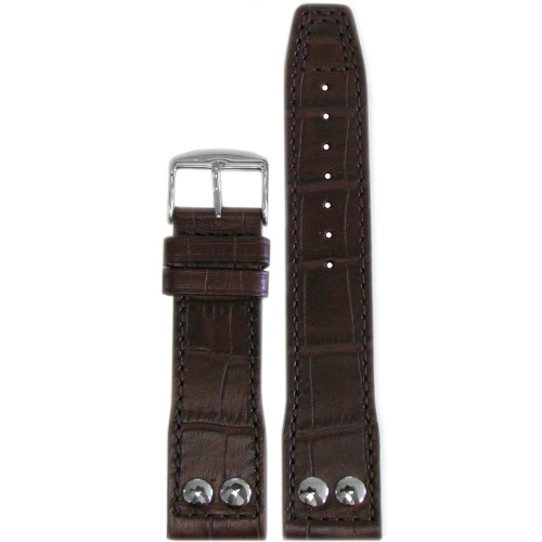 "24mm Dark Brown Embossed Leather ""Gator"" Pilot Style Watch Strap with Match Stitching for IWC 