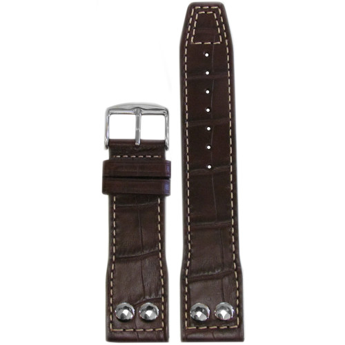 "24mm Dark Brown Embossed Leather ""Gator"" Pilot Style Watch Strap with White Stitching for IWC 