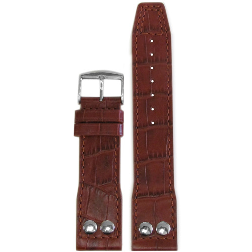 "24mm Medium Brown Embossed Leather ""Gator"" Pilot Style Watch Strap with Match Stitching for IWC 