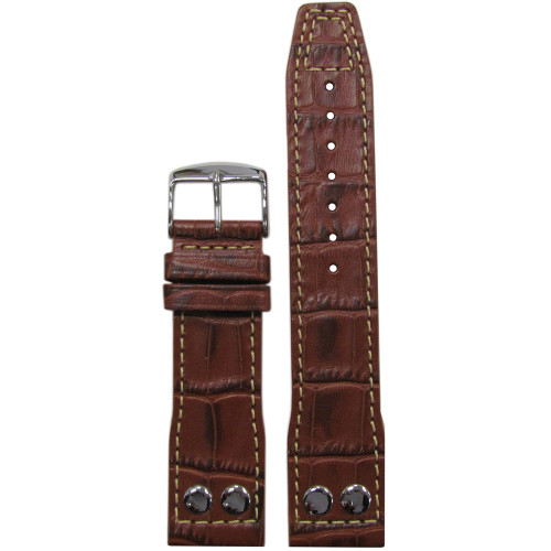 "24mm Medium Brown Embossed Leather ""Gator"" Pilot Style Watch Strap with White Stitching for IWC 