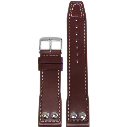 22mm Burgundy Calf Leather Pilot Style Watch Strap with White Stitching for IWC | Panatime.com