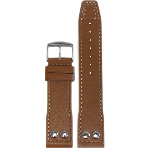 22mm Golden Brown Calf Leather Pilot Style Watch Strap with White Stitching for IWC | Panatime.com