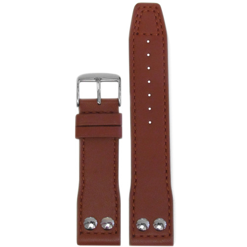 22mm Brown Calf Leather Pilot Style Watch Strap with Match Stitching for IWC | Panatime.com