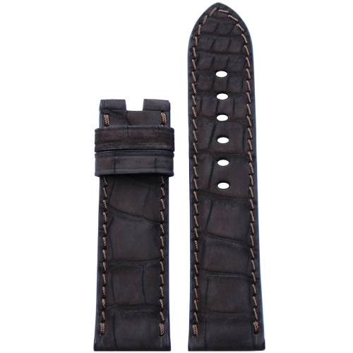24mm Mocha Nubuk Alligator Watch Strap with Match Stitching for Panerai Deploy | Panatime.com