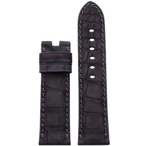 24mm Mocha Nubuk Alligator Watch Strap with Match Stitching for Panerai Deploy   Panatime.com
