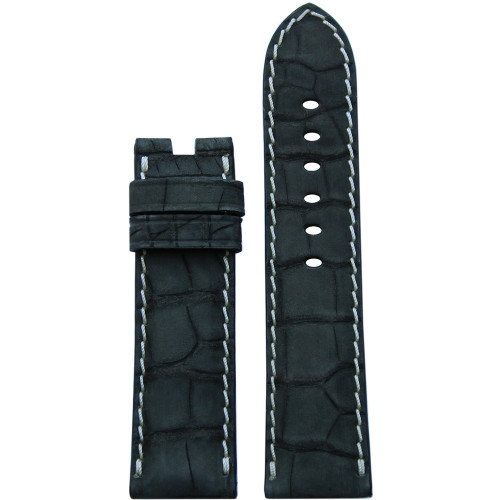 24mm Black Nubuk Alligator Watch Strap with White Stitching for Panerai Deploy | Panatime.com