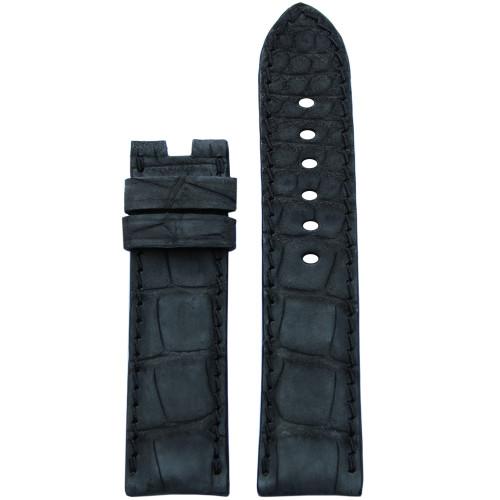 24mm Black Nubuk Alligator Watch Strap with Match Stitching for Panerai Deploy | Panatime.com