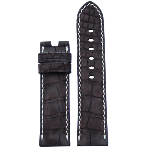 24mm Mocha Nubuk Alligator Watch Strap with White Stitching for Panerai Deploy | Panatime.com