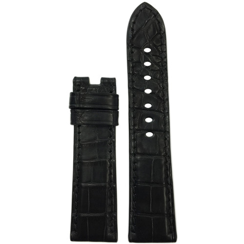22mm Black Matte Alligator Watch Strap with Match Stitch for Panerai Deploy | Panatime.com