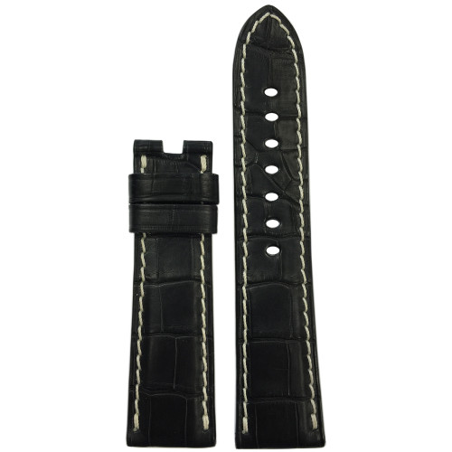 22mm Black Matte Alligator Watch Strap with White Stitching for Panerai Deploy | Panatime.com