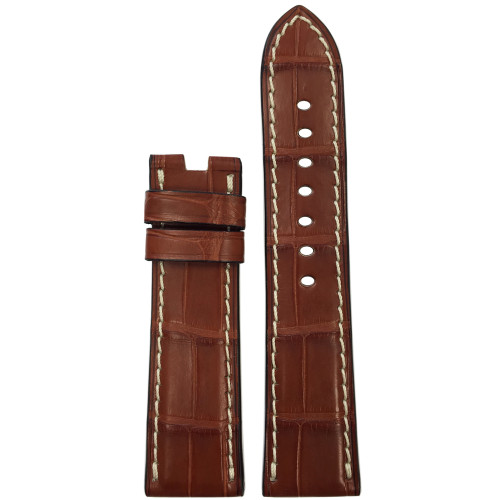 22mm Cognac Matte Alligator Watch Strap with White Stitching for Panerai Deploy | Panatime.com