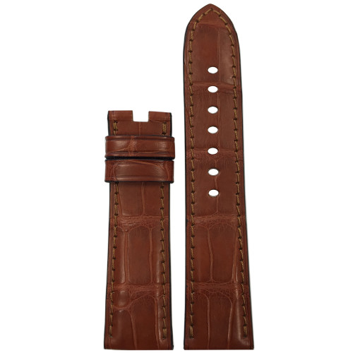 22mm Cognac Matte Alligator Watch Strap with Match Stitching for Panerai Deploy | Panatime.com