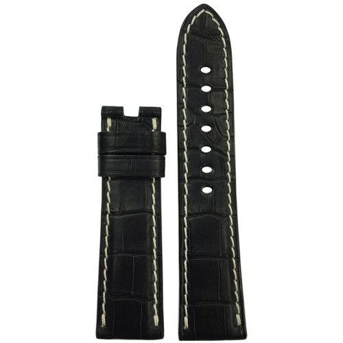 22mm (XL) Black Matte Alligator Watch Strap with White Stitching for Panerai Deploy | Panatime.com