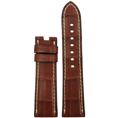 22mm (XL) Cognac Matte Alligator Watch Strap with White Stitching for Panerai Deploy | Panatime.com