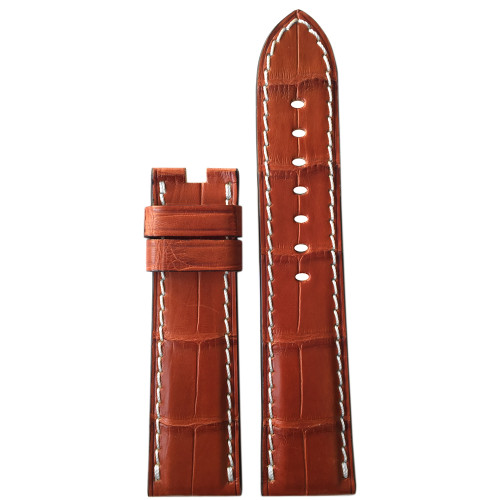 24mm (XL) Cognac Matte Alligator Watch Strap with White Stitching for Panerai Deploy | Panatime.com