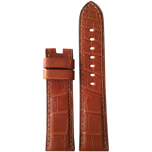 24mm (XL) Cognac Matte Alligator Watch Strap with Match Stitching for Panerai Deploy | Panatime.com