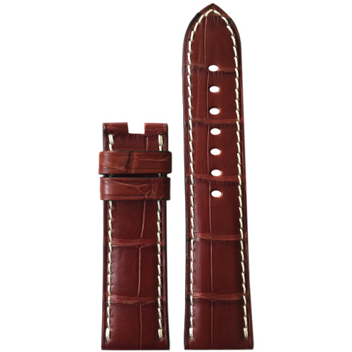 24mm (XL) Mahogany Matte Alligator Watch Strap with White Stitching for Panerai Deploy | Panatime.com