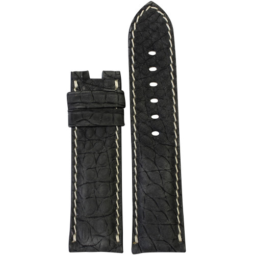 24mm Black Nubuk Alligator (Flank) Watch Strap with White Stitching for Panerai Deploy | Panatime.com