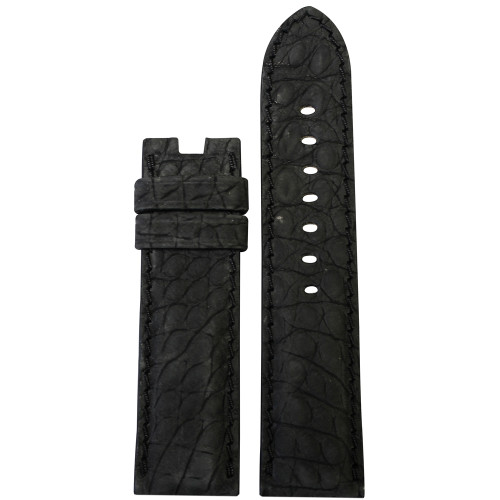 24mm Black Nubuk Alligator (Flank) Watch Strap with Match Stitching for Panerai Deploy | Panatime.com