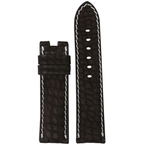 24mm Mocha Nubuk Alligator (Flank) Watch Strap with White Stitching for Panerai Deploy | Panatime.com