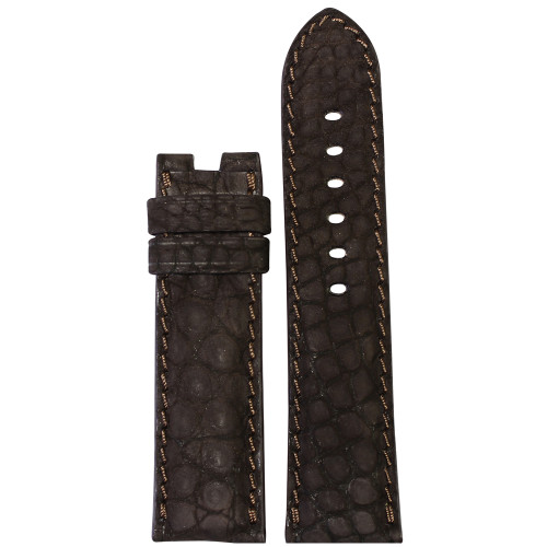 24mm Mocha Nubuk Alligator (Flank) Watch Strap with Match Stitching for Panerai Deploy | Panatime.com
