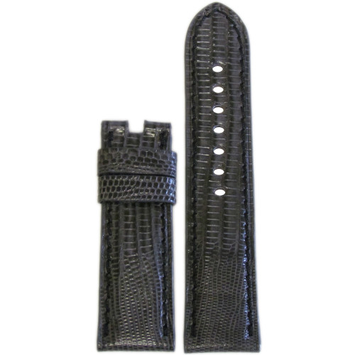 24mm Stone Teju Lizard Watch Strap with Black Stitching for Panerai Deploy | Panatime.com