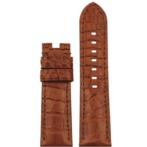 24mm (XL) Honey Matte Louisiana Alligator Watch Strap with Match Stitching for Panerai Deploy | Panatime.com