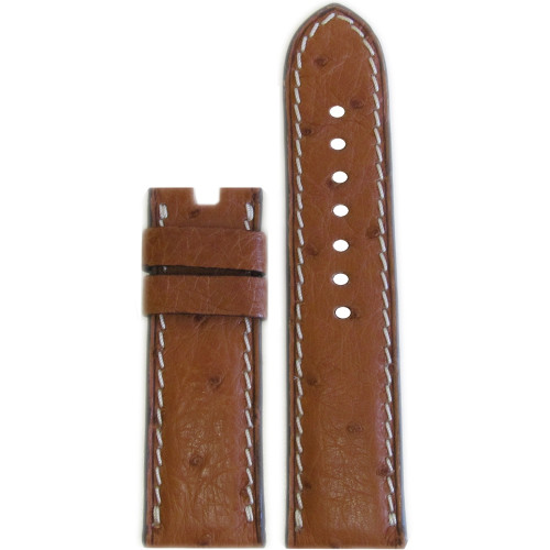 "24mm Natural ""Le Jardin"" Ostrich Watch Strap with White Stitching for Panerai Deploy 