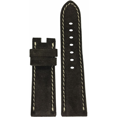 24mm Mocha Velour Watch Strap with White Stitching for Panerai Deploy | Panatime.com