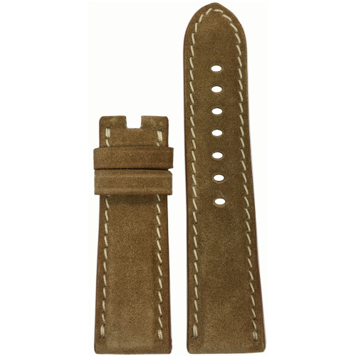 24mm Khaki Velour Watch Strap with White Stitching for Panerai Deploy | Panatime.com