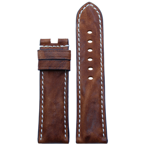 22mm (XL) Burnt Chestnut Vintage Leather Watch Strap with White Stitching for Panerai Deploy | Panatime.com