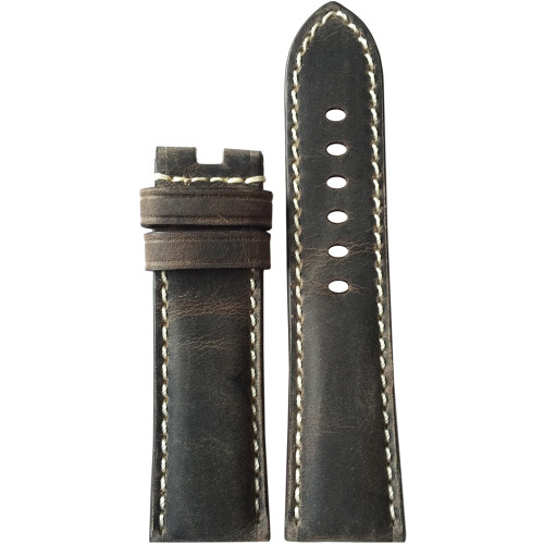 22mm (XL) Stone Vintage Leather Watch Strap with White Stitching for Panerai Deploy | Panatime.com