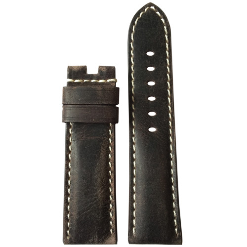 24mm Slate Vintage Leather Watch Strap with White Stitching for Panerai Deploy | Panatime.com