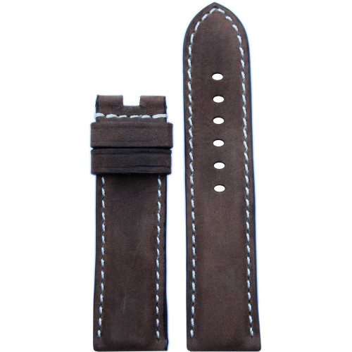 24mm Dark Olive Vintage Leather Watch Strap with White Stitching for Panerai Deploy | Panatime.com