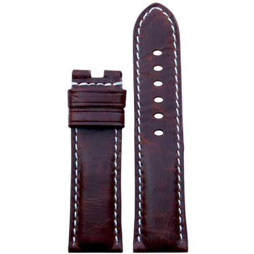 24mm (XL) Burnt Maroon Vintage Leather Watch Strap with White Stitching for Panerai Deploy | Panatime.com