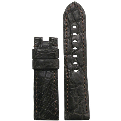 22mm Dark Brown Matte Crocodile Watch Strap with Match Stitching for Panerai Deploy | Panatime.com