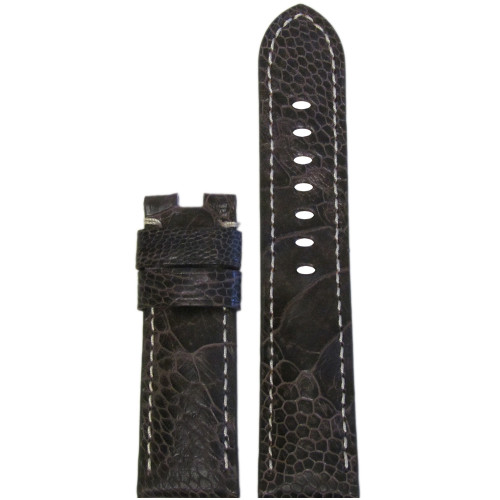 24mm Brown Ostrich Leg Watch Strap with White Stitching for Panerai Deploy | Panatime.com