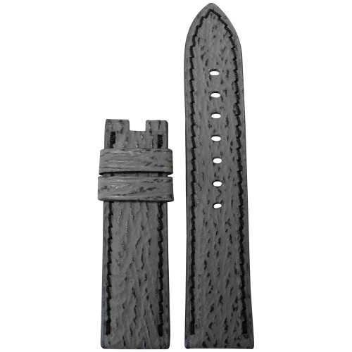 22mm Grey Shark Watch Strap with Black Stitching for Panerai Deploy | Panatime.com
