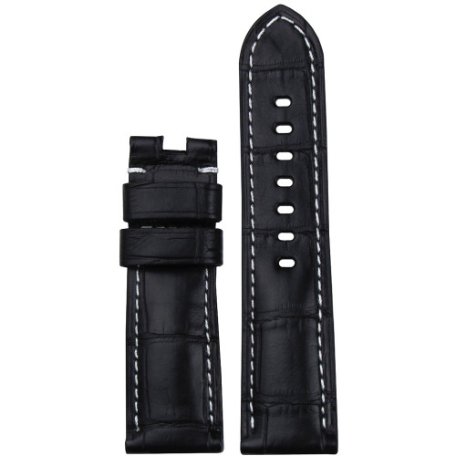 22mm (XL) Black Matte Louisiana Alligator Watch Strap with White Stitching for Panerai Deploy | Panatime.com