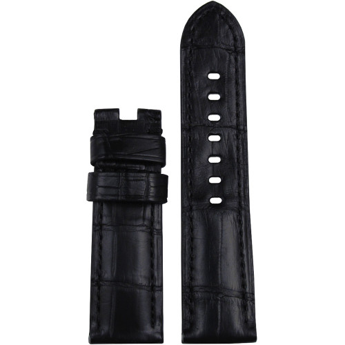 22mm (XL) Black Matte Louisiana Alligator Watch Strap with Match Stitching for Panerai Deploy | Panatime.com