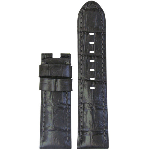 22mm Grey Embossed Leather Gator Watch Strap with Match Stitching for Panerai Deploy | Panatime.com