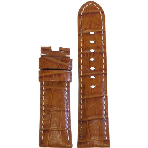 22mm Honey Embossed Leather Gator Watch Strap with White Stitching for Panerai Deploy | Panatime.com