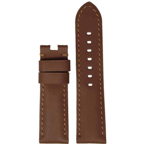 22mm Tan Soft Calf Leather Watch Strap with Match Stitching for Panerai Deploy | Panatime.com