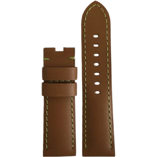 22mm Tan Soft Calf Leather Watch Strap with Green Stitching for Panerai Deploy | Panatime.com