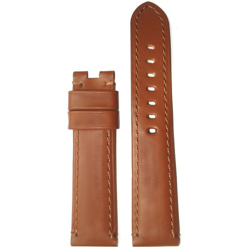 22mm (XL) Gold Soft Calf Leather Watch Strap with Match Stitching for Panerai Deploy | Panatime.com
