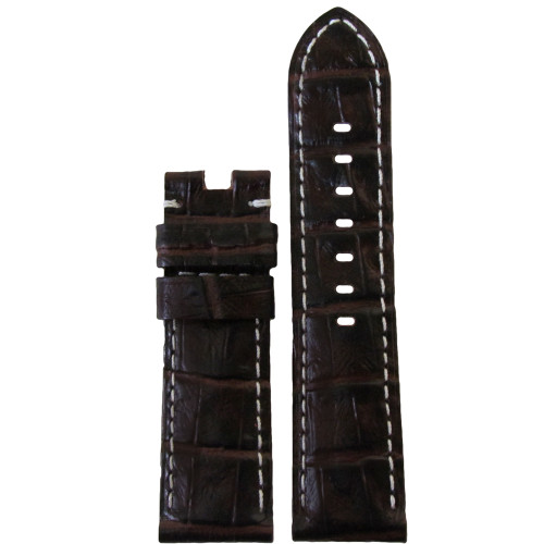 24mm Choco Semi-Gloss Embossed Leather Gator Watch Strap with White Stitching for Panerai Deploy | Panatime.com
