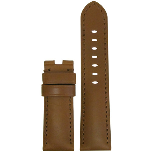 24mm Golden Brown Calf Leather Watch Strap with Match Stitching for Panerai Deploy | Panatime.com