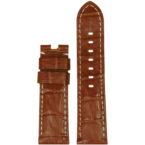 24mm (XL) Honey-Red Embossed Leather Gator Watch Strap with White Stitching for Panerai Deploy | Panatime.com