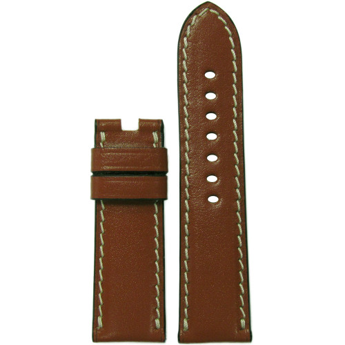 24mm Cognac Saddle Leather Watch Strap with White Stitching for Panerai Deploy | Panatime.com