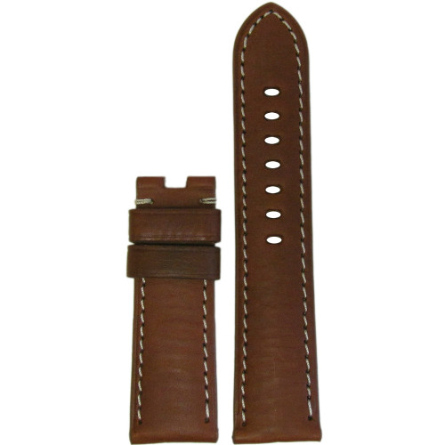 24mm Medium Brown HZ Vintage Leather Watch Strap with White Stitching for Panerai Deploy | Panatime.com